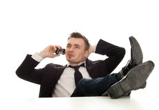 Calling young businessman Stock Image