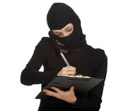 Calling young female thief writing Stock Images