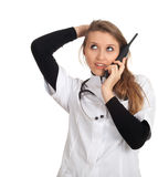 Calling young lady doctor Stock Photography