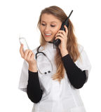 Calling young lady doctor Stock Photo