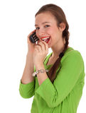 Calling young woman with lollipop Royalty Free Stock Images
