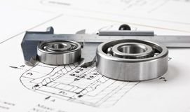 Calliper and a bearing. Close up royalty free stock photography