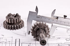 Calliper and gear Royalty Free Stock Photo