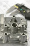 Calliper and mechanical part Royalty Free Stock Photos
