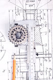 Calliper with part on Engineering drawing Stock Image