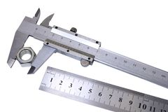 Calliper and ruler. Royalty Free Stock Images