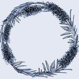 Callistemon Runde Form Hand gezeichnet gl?ckliches neues Jahr 2007 blau lizenzfreie abbildung
