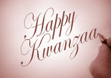 Callligraphy Gelukkige Kwanzaa Royalty-vrije Stock Foto