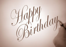 Callligraphy happy birthday Royalty Free Stock Photo