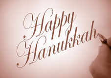 Callligraphy Happy Hanukkah Royalty Free Stock Photos