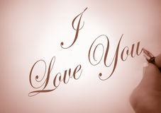 Callligraphy I love you stock photography