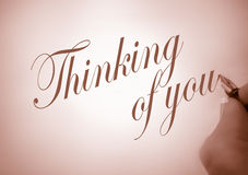 Callligraphy thinking of you Stock Image