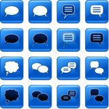 Callout buttons. Collection of blue square speech bubble rollover buttons Royalty Free Stock Image