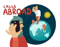 Calls Abroad Composition. With communication between men by mobile phone, planet earth, sun in space vector illustration Stock Photography