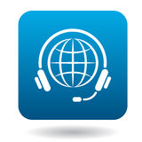 Calls around world icon, flat style Stock Photography