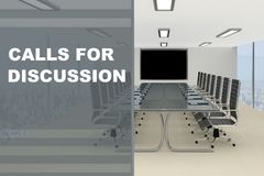 Calls for Discussion concept. 3D illustration of CALLS FOR DISCUSSION title on a glass compartment Stock Image