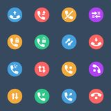 Calls icon vector flat icons on the color substrate  set of 16. On dark blue background Stock Images