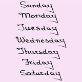 Callygraphic names of days of the week. Hand drawn callygraphic names of days of the week Stock Images