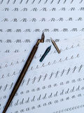 Callygraphy nibs. And sheets of exercises Royalty Free Stock Images