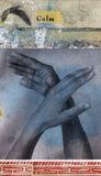 Calm. Mixed media illustration using photographs of upraised hands and a seagull in flight Stock Photography