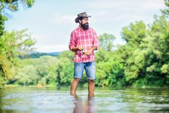 Free Calm And Peaceful Mood. Fisherman Alone Stand In River Water. Man Bearded Fisherman. Fisherman Fishing Equipment. Some Stock Photo - 160581270