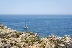 Calm Atlantic Ocean in Fortaleza de Sagres, Portugal Stock Images