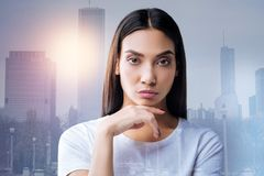 Calm attentive psychologist being professional while listening to her client Royalty Free Stock Photos
