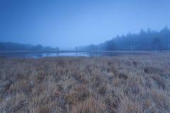 Calm autumn misty morning over lake Stock Photos