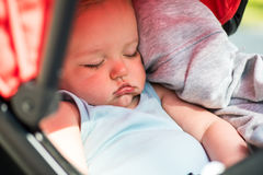 Closeup portrait of calm baby boy sleeping in a stroller Royalty Free Stock Photography