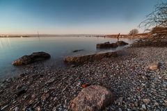 Calm Baltic sea. Baltic sea coast in Tallinn near Linnahall Royalty Free Stock Photo