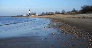 Calm Baltic Sea and Riga lighthouse stock footage