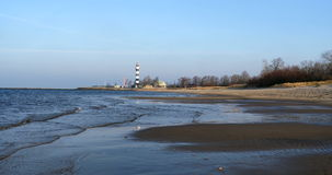 Calm Baltic Sea and Riga lighthouse stock video footage