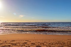 Calm Baltic sea seashore beach background in golden hour. Calm Baltic sea background in golden hour beach sand dune grass latvia sunset path landscape sky coast royalty free stock photography