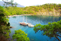 Calm bay with sail boat. Turkey Stock Photography