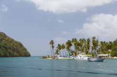 Calm bay in St Lucia. Taken from a Catamaran off the coast of St Lucia Royalty Free Stock Photography
