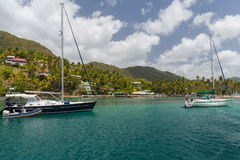 A calm bay in St Lucia. Taken from a Catamaran off the coast of St Lucia Royalty Free Stock Photo