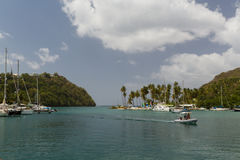 Calm bay in St Lucia. Taken from a Catamaran off the coast of St Lucia Stock Photo