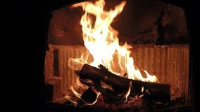 Calm beautiful fireplace flames slow motion closeup stock footage