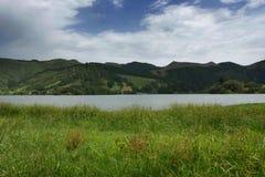 Calm beautiful landscape Blue Lake or Lagoa Azul in Sete Cidades  Sao Miguel Azores island Portugal Royalty Free Stock Images