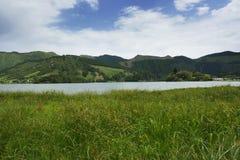 Calm beautiful landscape Blue Lake or Lagoa Azul in Sete Cidades  Sao Miguel Azores island Portugal Royalty Free Stock Image