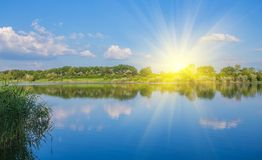 Calm beautiful rural landscape with a lake Royalty Free Stock Photos