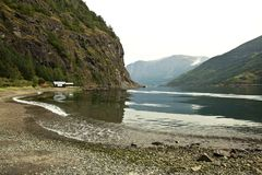 Calm and beautiful summer view of Sognefjorden fjord, Norway. Colorful morning scene of Flom port, Norway Stock Photo