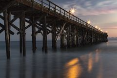 California Sunset on Pier royalty free stock photo