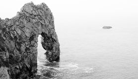 Calm Black and White Durdle Door, Lulworth Cove Stock Image