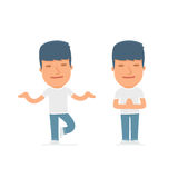 Calm and Blanced Character Activist does yoga and meditates. For use in presentations, etc Royalty Free Stock Images
