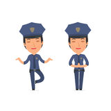 Calm and Blanced Character Constabulary does yoga and meditates Royalty Free Stock Photography
