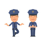 Calm and Blanced Character Officer does yoga and meditates Royalty Free Stock Images