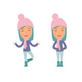 Calm and Blanced Character Winter Girl does yoga and meditates Royalty Free Stock Photography