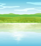 A calm blue lake. Illustration of a calm blue lake Royalty Free Stock Photography