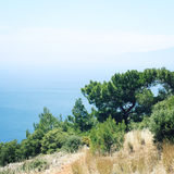 Calm blue sea and clear sky. Spring sunny day. Stock Photography